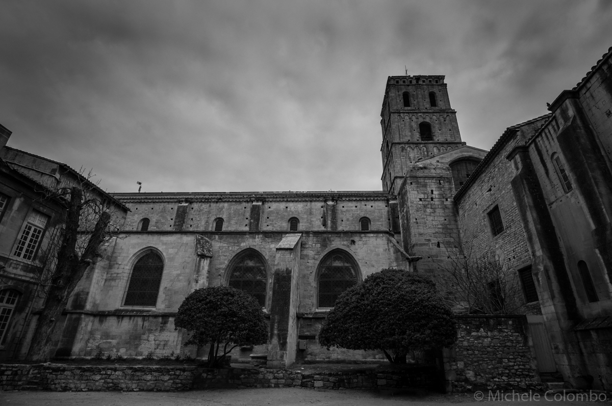 Gothic cathedral on dark sky. Black and white.