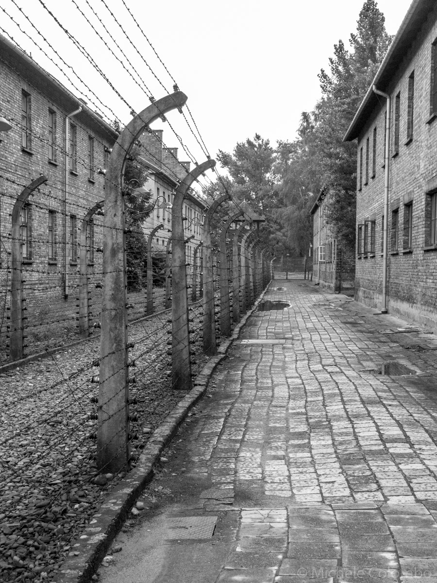Black and white shot in Auschwitz concentration camp