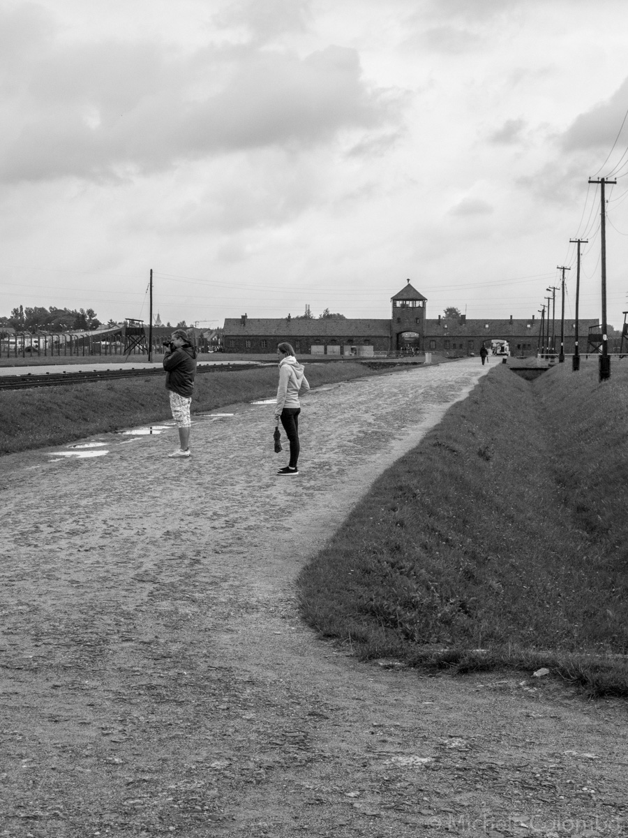 Road in Auschwitz II - Birkenau with the famous entrance building