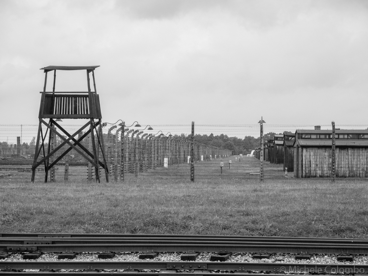 railway and guard tower in Auschwitz II-Birkenau concentration camp