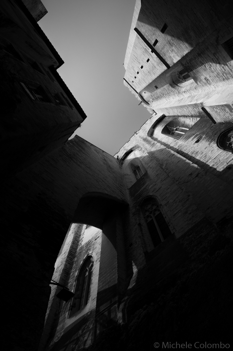 the imposing Palais des Papes in Avignon. Black and white.