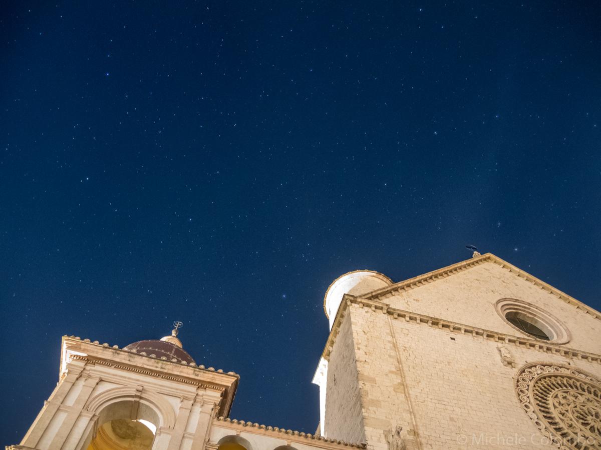 Starry sky above Saint Francis Basilica - Assisi