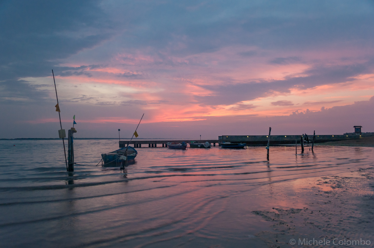 Boats at sunrise in Caorle