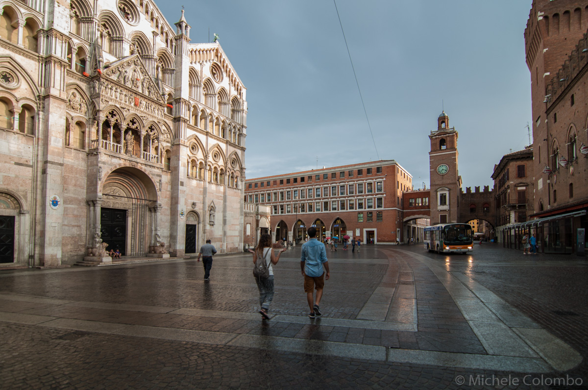 clock tower and cathedral in Ferrara