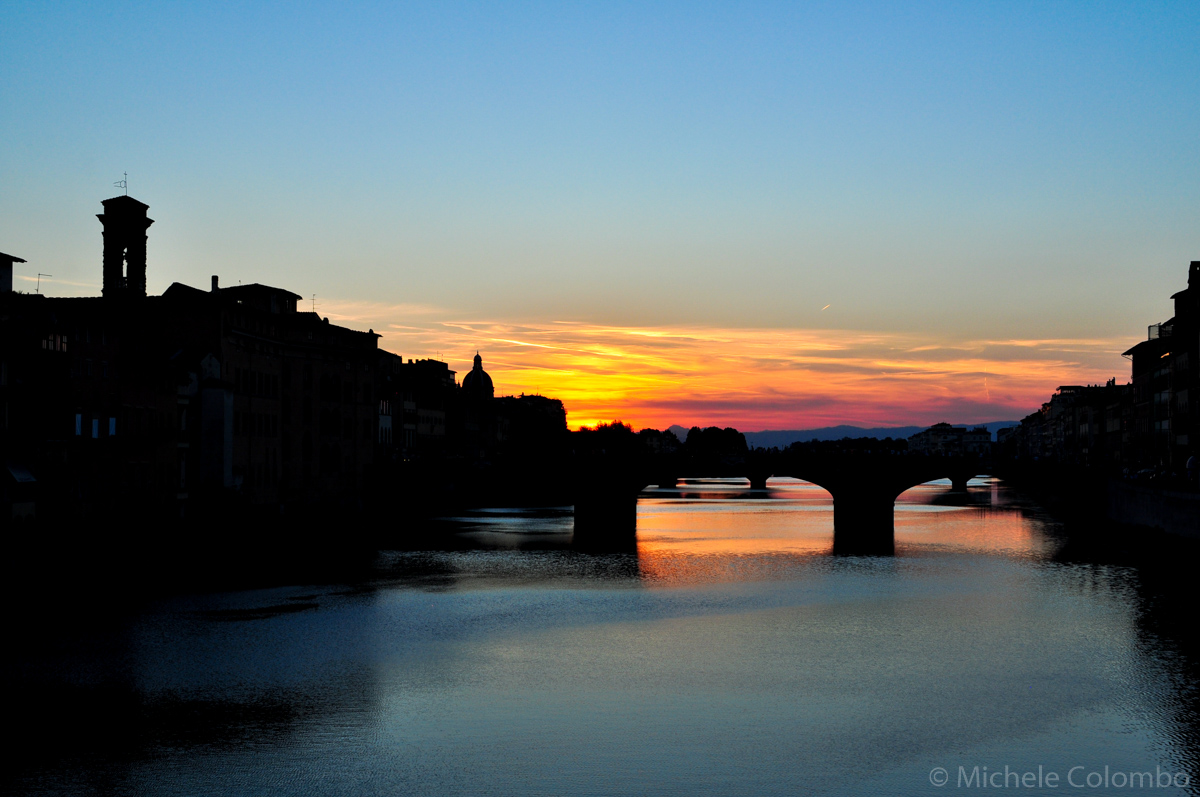 River Arno at sunset in Florence