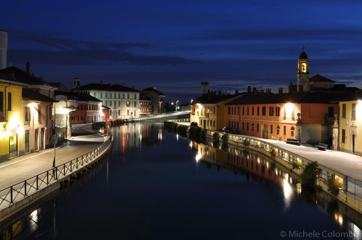 Naviglio Grande in Gaggiano at night