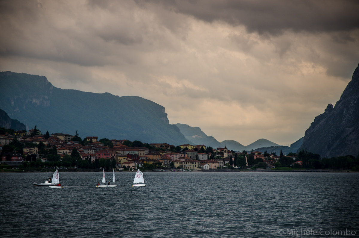 Stormy sky above boats in Lake Como