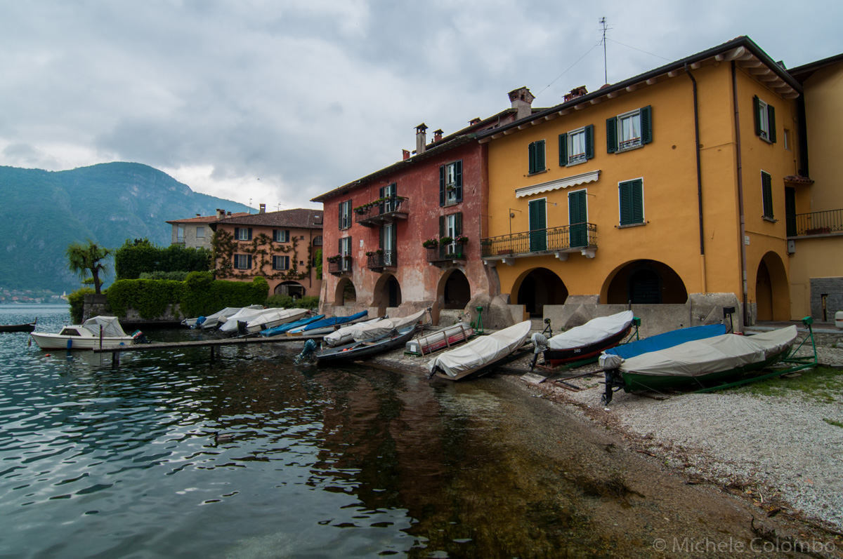 Boats on Lake Come in Mandello del Lario
