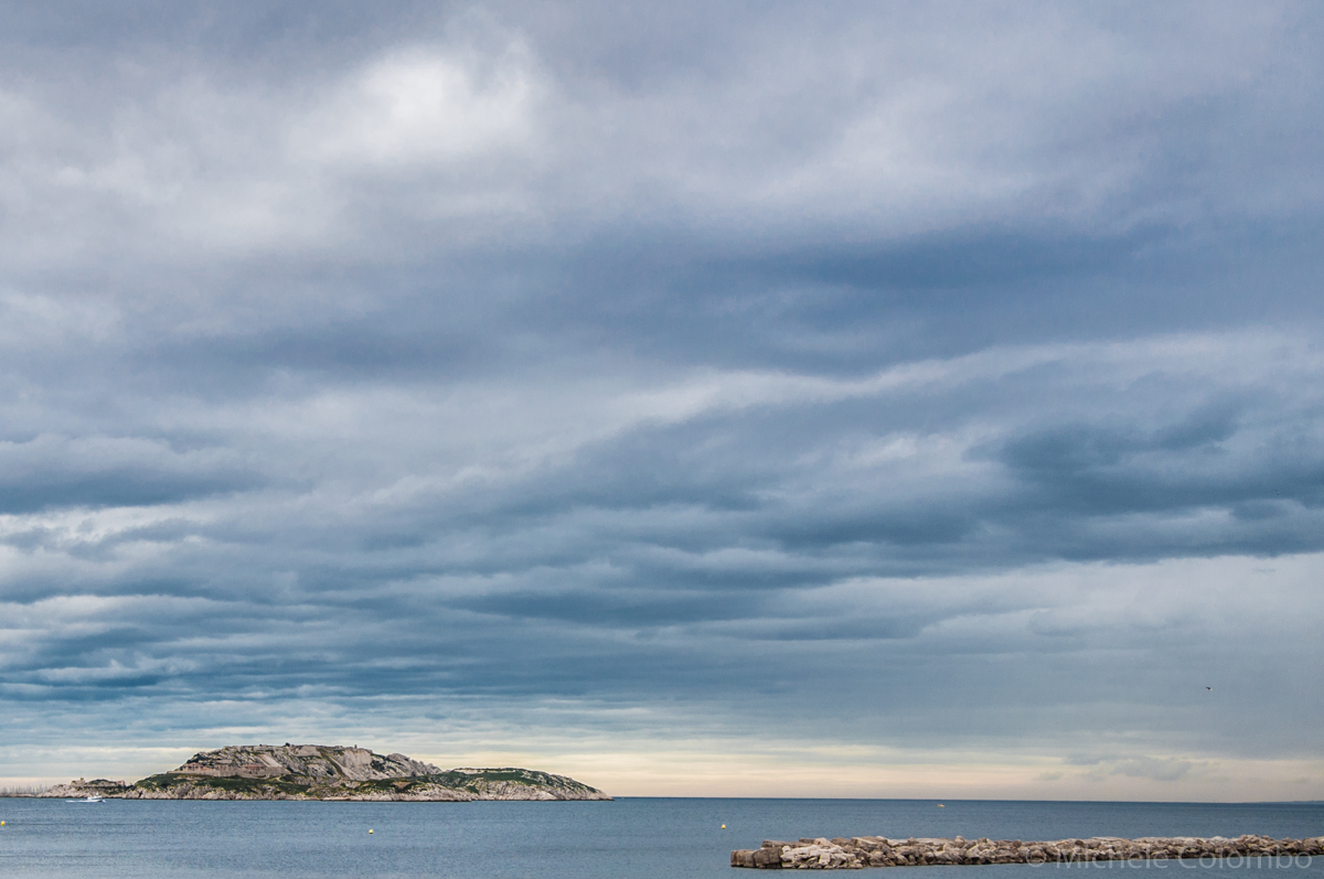 Stormy sky above Marseille islands