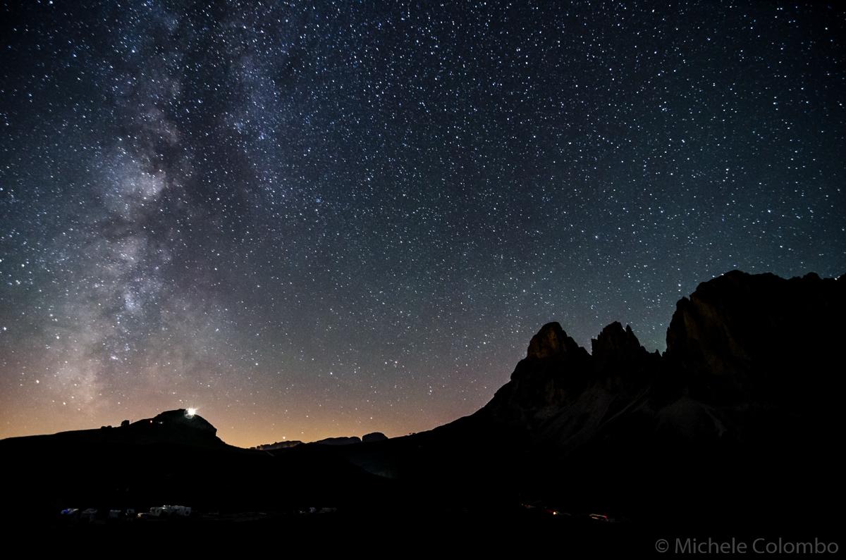 Sassolungo with Milky way