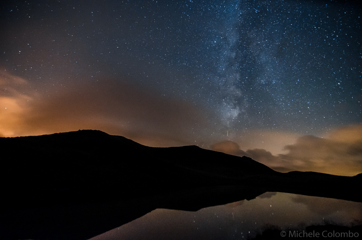 Lake Segantini reflecting milky way
