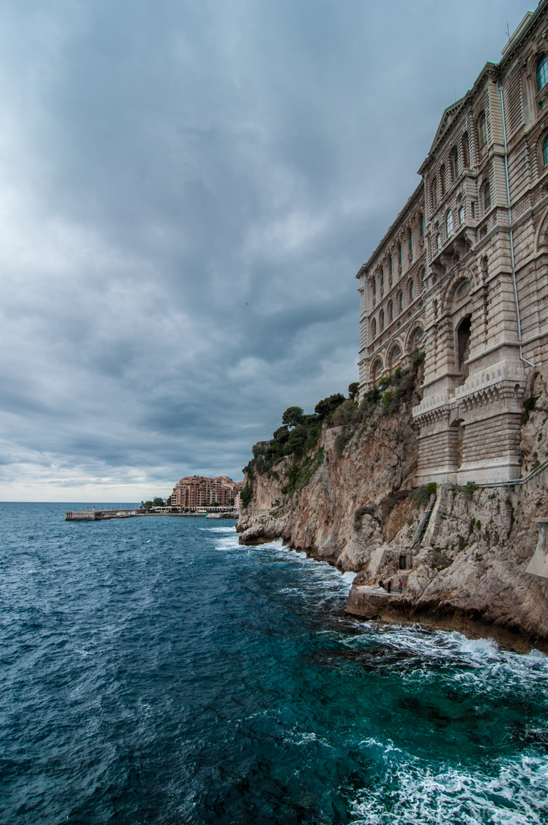 Cliff on the sea in Monaco in a cloudy day