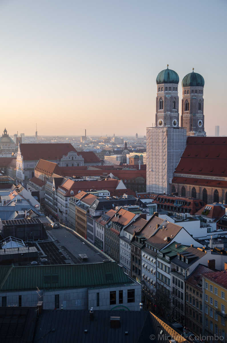 Frauenkirche from St. Peter bell tower at sunset