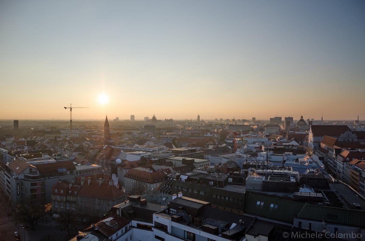 winter sunset over Munich