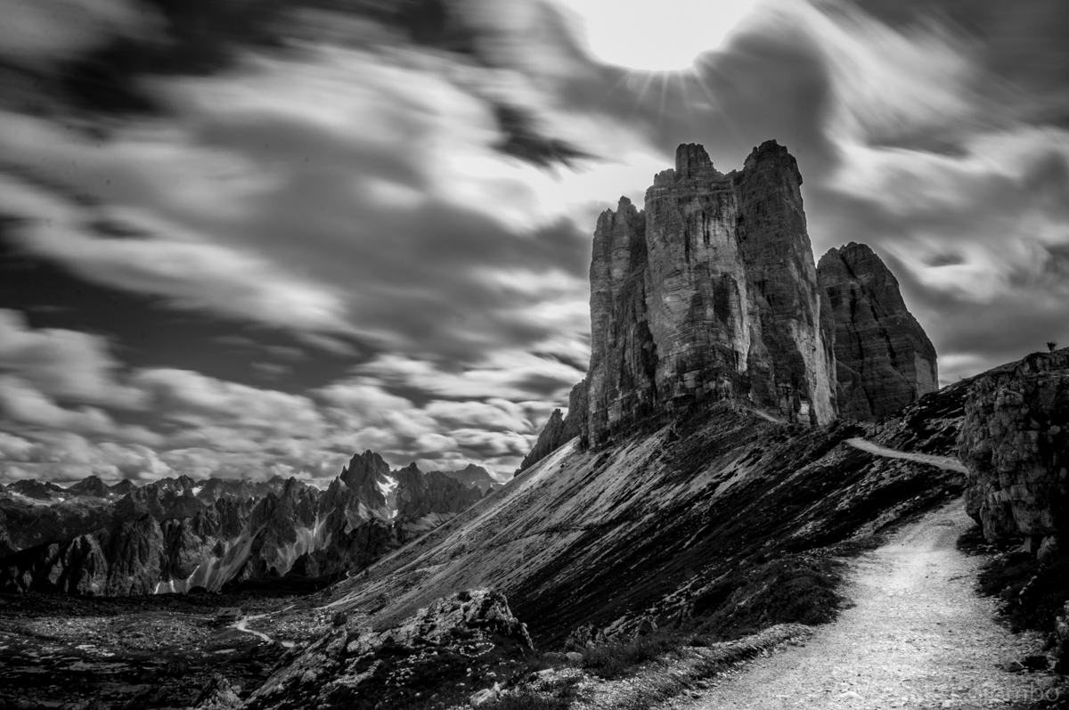 long exposure of Tre cime di Lavaredo