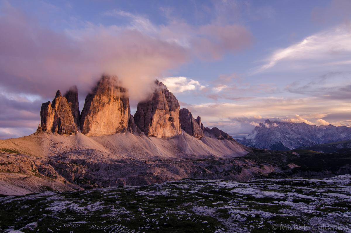 Tre cime di Lavaredo at sunset