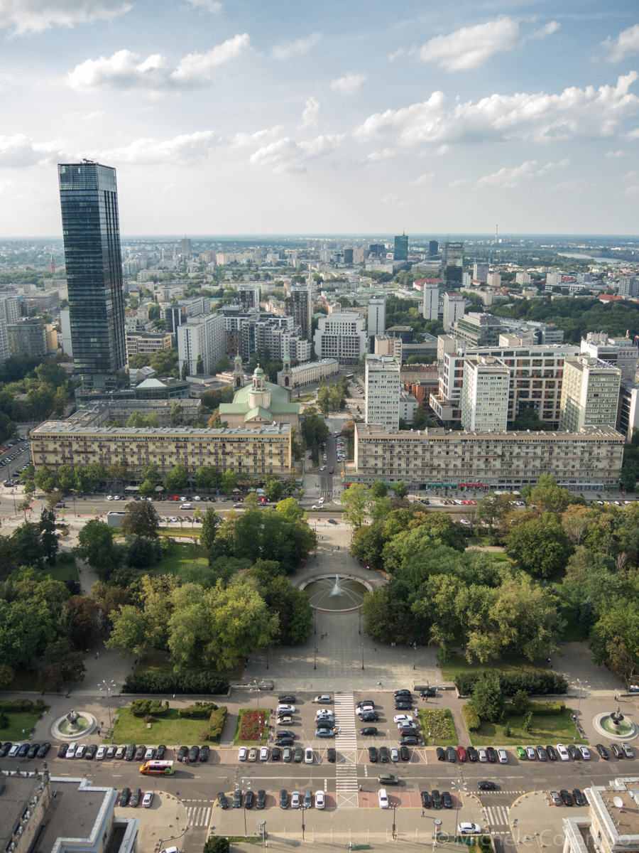 high-rise buildings and parks in Warsaw