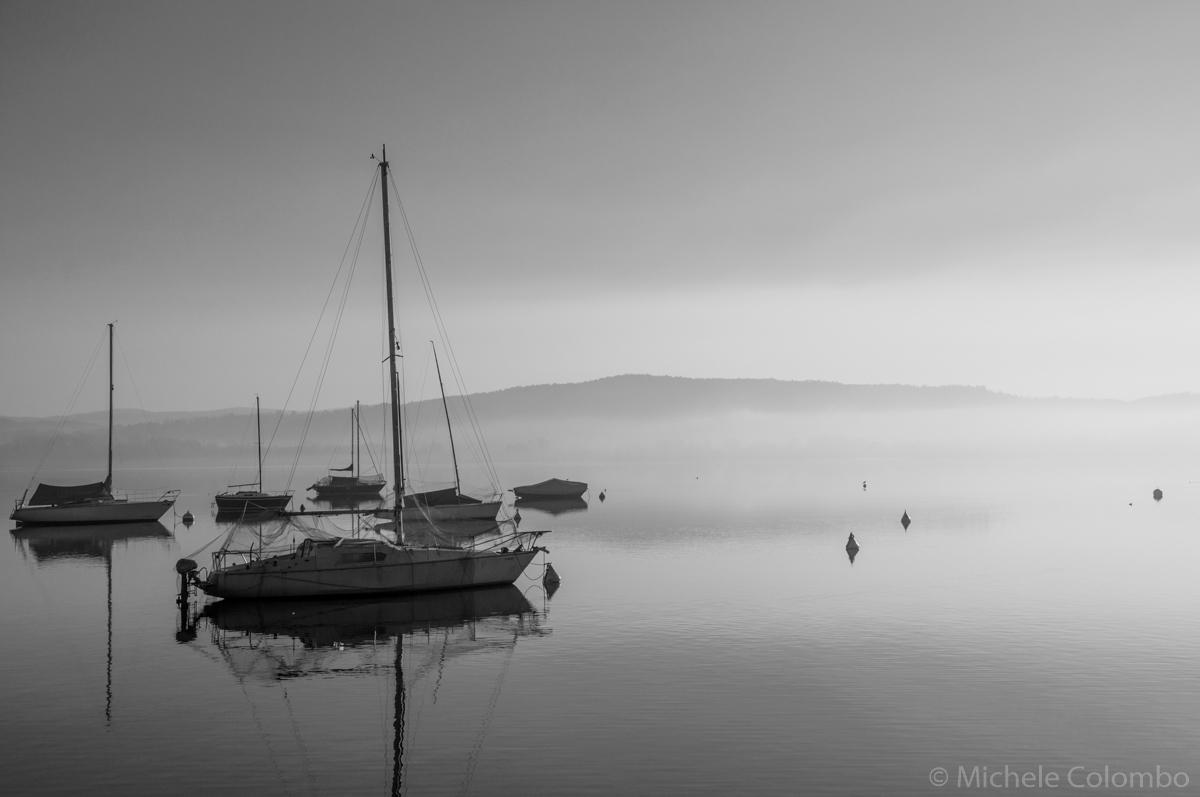 Sailboat in the mist - Lake Maggiore