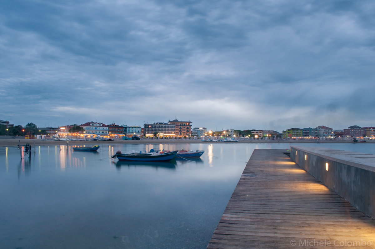 Lights, boats and a jetty in Caorle