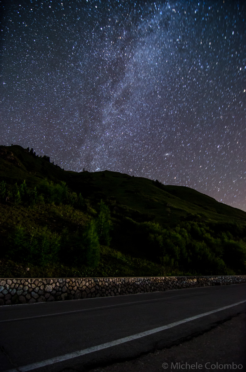 Road, mountains and the milky way