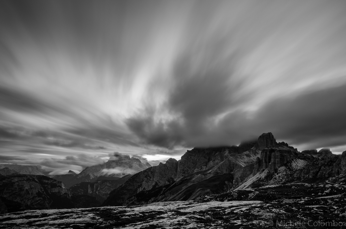 Long exposure photo of mountains and clouds