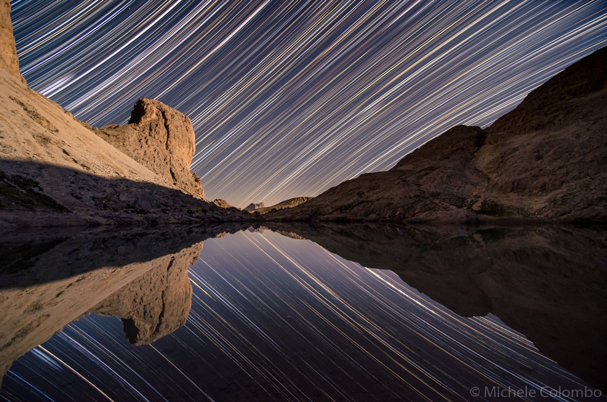 Star trail of Dolomites and lake Antermoia