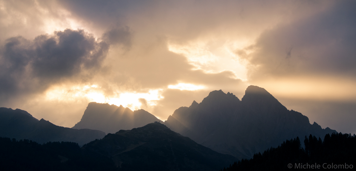 Sunset beams over mountain