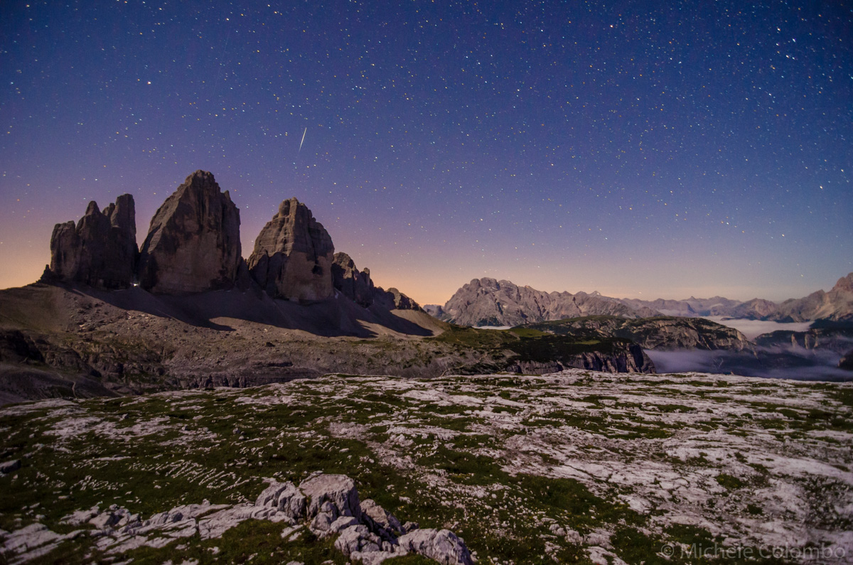 Moonlight over Tre cime di Lavaredo