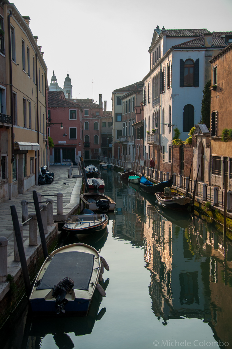 Morning on a canal in venice