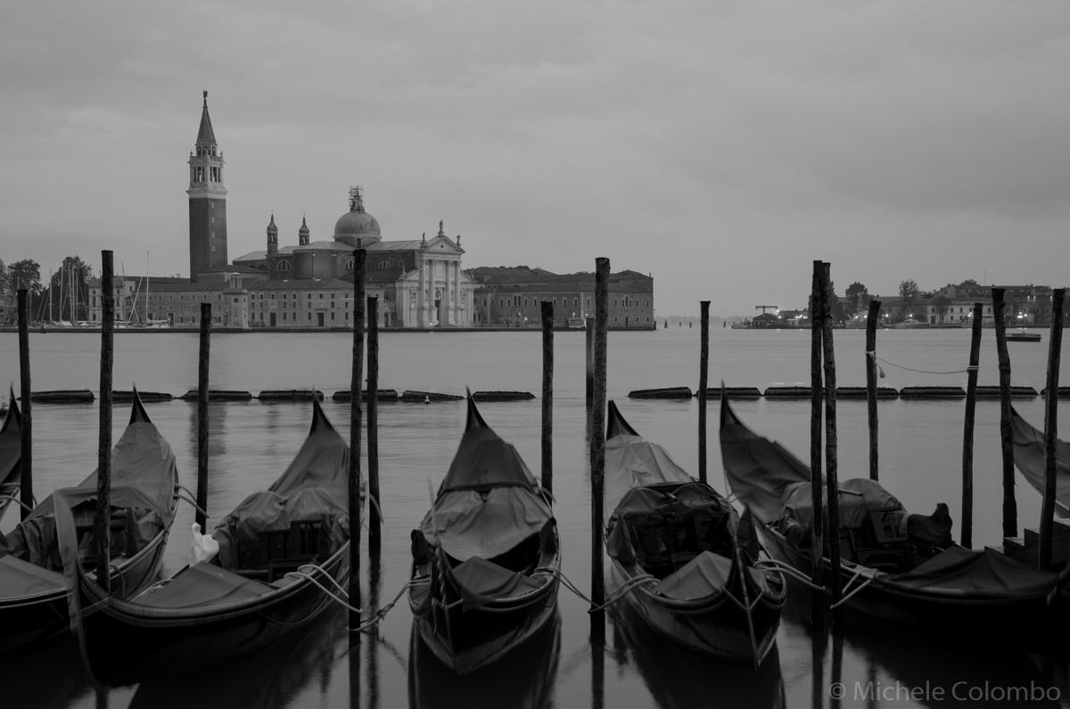 photo of gondolas in Venice lagoon. Black and white.