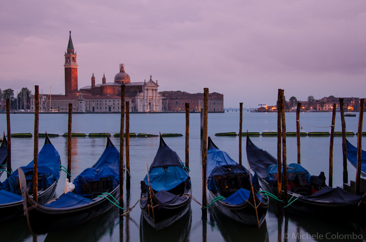 Gondolas with San Giorgio in the Background - Venice
