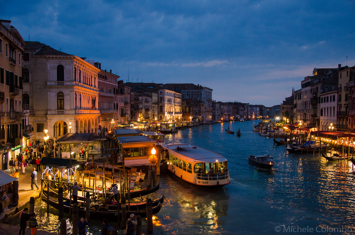 Grand Canal by nightfall from Rialto Bridge