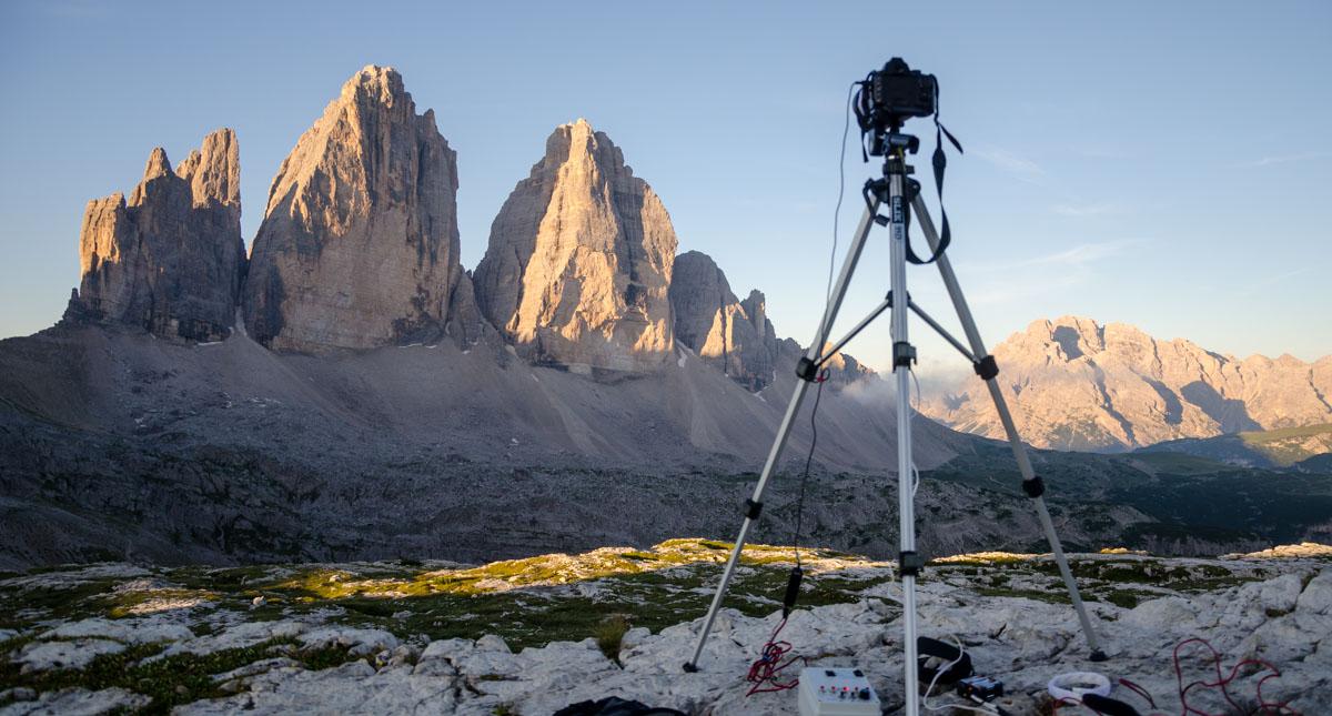 shooting di un time lapse alla tre cime di Lavaredo
