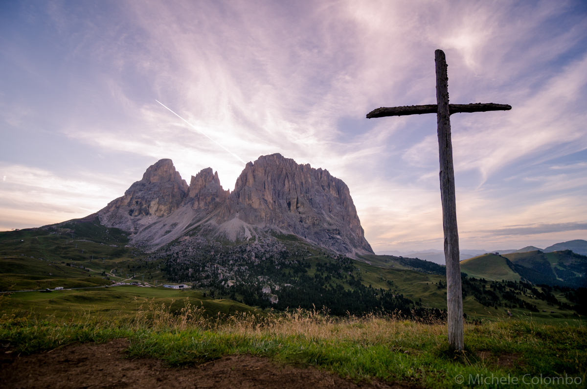 wooden cross with dolomites