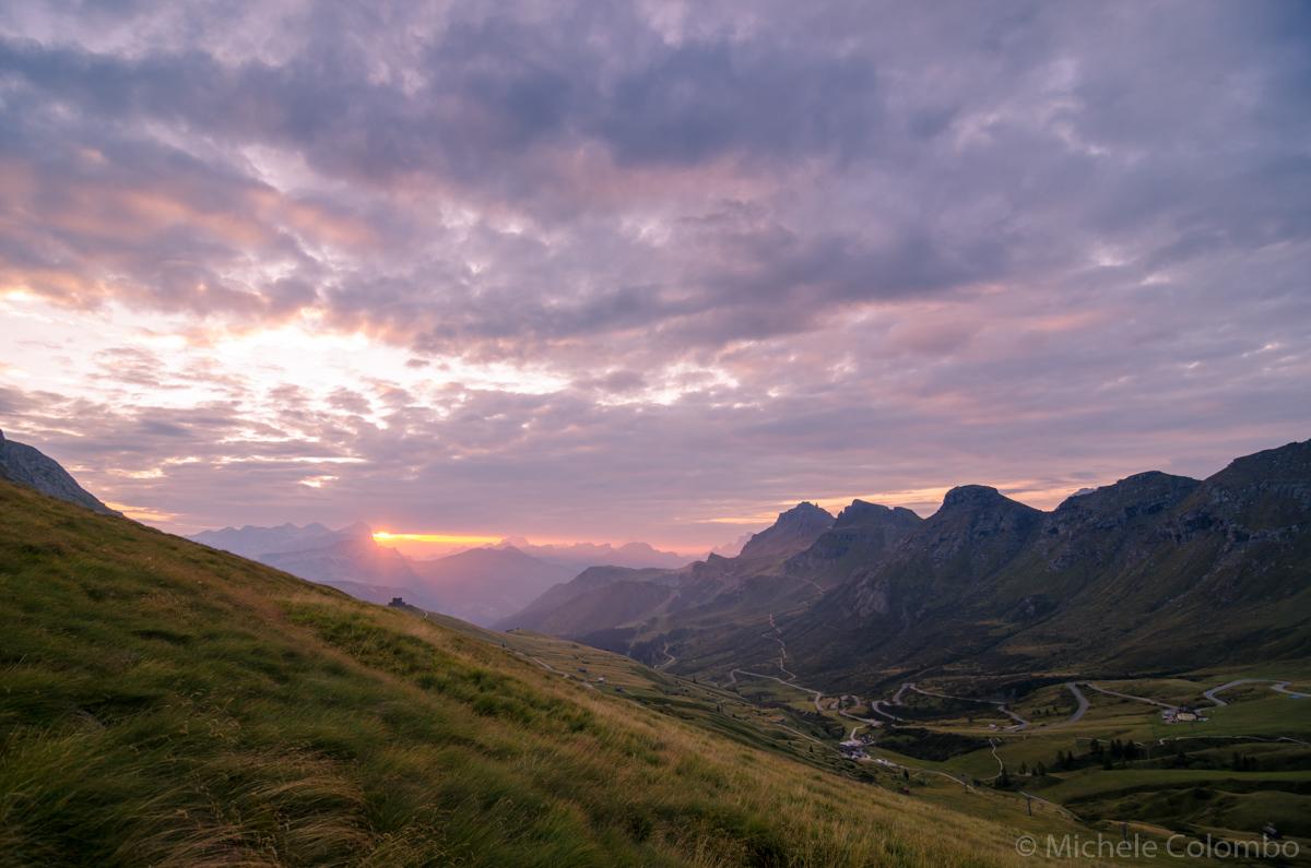 cloudy sunrise in Pordoi Pass